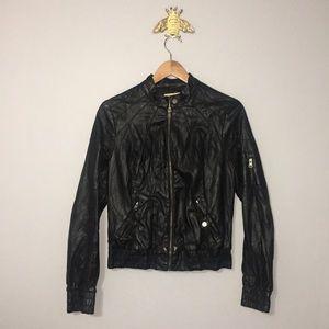 Black Poppy Bomber faux Leather Jacket